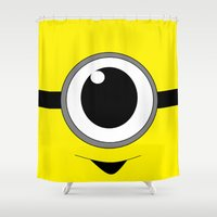 minion Shower Curtains featuring Evil Minion by shannon's art space