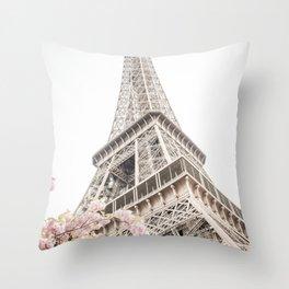 Eiffel Tower Cherry Blossoms Throw Pillow