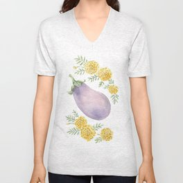 Eggplant and Marigolds Unisex V-Neck