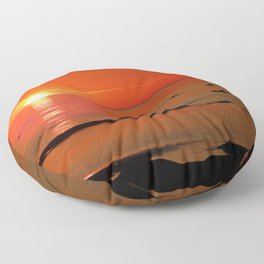 Kayaker and the Setting Sun Floor Pillow