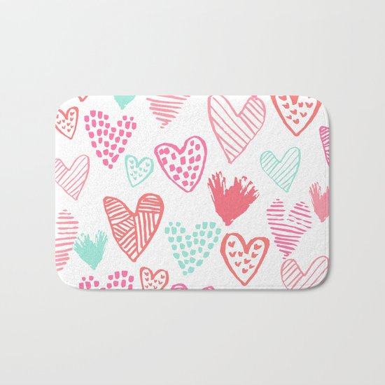 Hearts hand drawn heart pattern valentines day love gifts home decor hipster girls Bath Mat