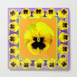 LILAC FRAMED YELLOW  PANSY GARDEN FLOWERS Metal Print