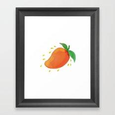 Juicy Mango Fruit Watercolor Framed Art Print