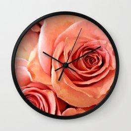 Peach Roses 4 Wall Clock