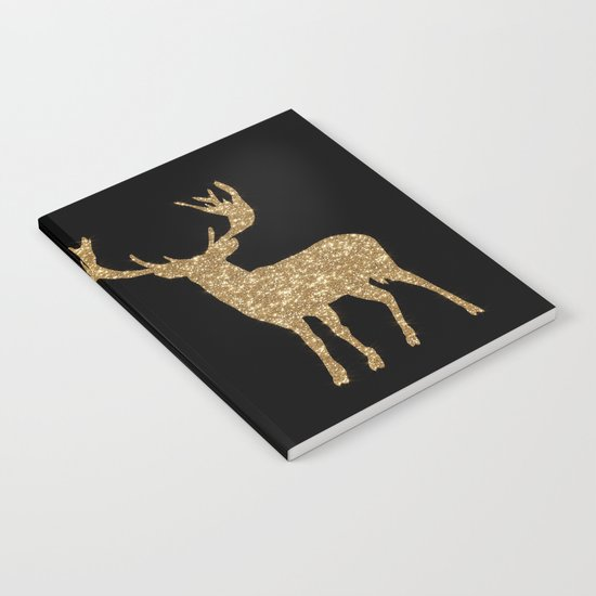 Sparkling golden deer - Wild Animal Animals on #Society6 Notebook