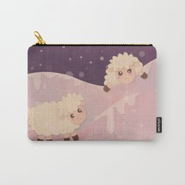 Cartoon Baby Sheep, Red Violet Snowy Bokeh Background Carry-All Pouch