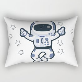 Astronaut Flying Across the Stars in Space While Dancing Rectangular Pillow