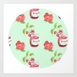 Raspberries & Camellias Art Print