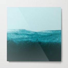 Aqua Watercolor Tide Metal Print