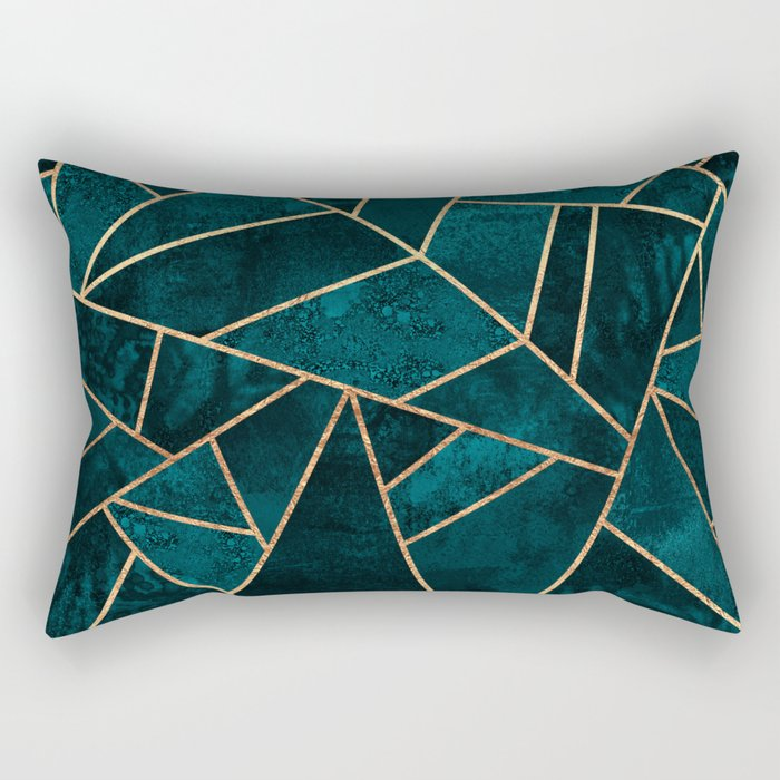 Deep Teal Stone Rectangular Pillow