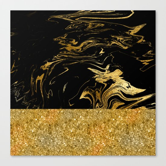 Luxury and glamorous gold glitter and black marble Canvas Print
