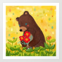A shy bear Art Print