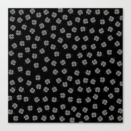 Dark Gray Clover Canvas Print