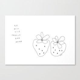 Ever After - Food Fruit Strawberry Illustration Love Canvas Print