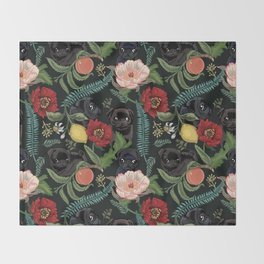 Botanical and Black Pugs Throw Blanket
