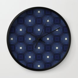 Blue and White Square Pattern Wall Clock