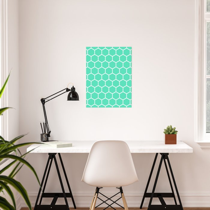 Menthol green and white honeycomb pattern Poster