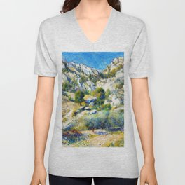 Pierre-Auguste Renoir - Rocky Crags At L'estaque - Digital Remastered Edition Unisex V-Neck