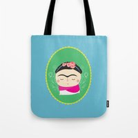frida kahlo Tote Bags featuring frida kahlo by WreckThisGirl