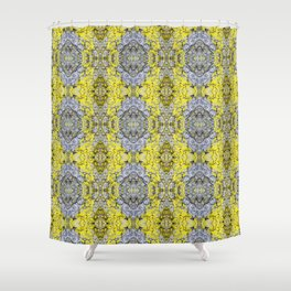 Yellow and Grey Abstract Pattern Shower Curtain