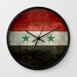 Flag of Syria, vintage retro style Wall Clock