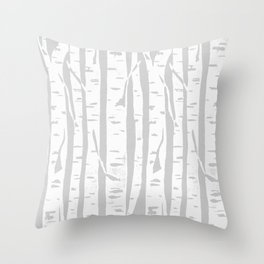 Woodcut Birches Grey Throw Pillow
