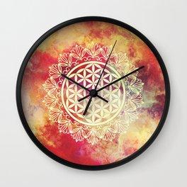 Flower Of Life (Sunset Skies) Wall Clock