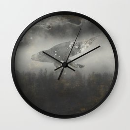Dream Space - Surreal Image with A Whale Wall Clock