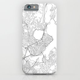 Portland Maine White Map iPhone Case