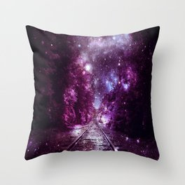 Dream Train Tracks : Next Stop Anywhere purple pink Throw Pillow