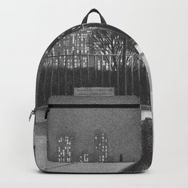 New York Nocturne, Cityscape, Skyline black and white painting by Martin Lewis Backpack