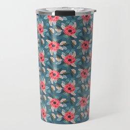 Poppy flowers garden nature mother trendy hipster boho botanical pattern floral print watercolor art Travel Mug