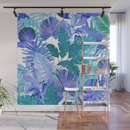 Tropical Leaf Blue Wall Mural