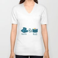 rock and roll V-neck T-shirts featuring Rock&Roll by Natalia Ogneva
