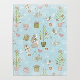From Bunnies And Christmas - Cute teal X-Mas Pattern Poster