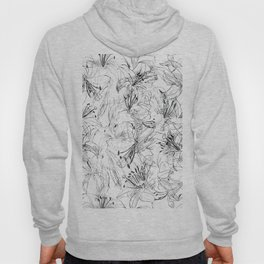 lily sketch black and white pattern Hoody