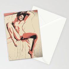 Flames in bedroom sexy naked girl, erotic nudity, adult nsfw body artwork, kinky brunette posing Stationery Cards