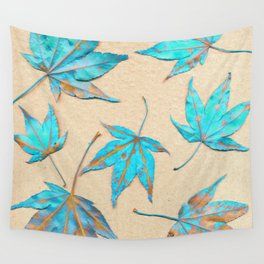 Japanese maple leaves - turquoise and gold on unbleached paper Wall Tapestry