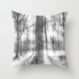 Forest Of Ghosts And Snow Throw Pillow