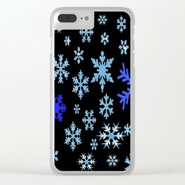 BLUE & PURPLE WINTER  SNOWFLAKES HOLIDAY ON BLACK Clear iPhone Case