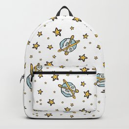 Cosmic Space Background Seamless Vector Pattern, Hand Drawn Galaxy Backpack