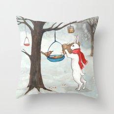 Filling the Bird Feeder Throw Pillow