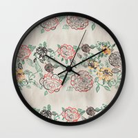 tote bag Wall Clocks featuring Floral Spring Tote bag by SamuelChinchilla