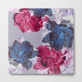big floral on gray Metal Print