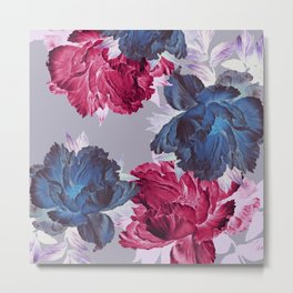 big floral on gray Metal Print