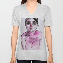 Study in pink, mixed media drawing Unisex V-Neck