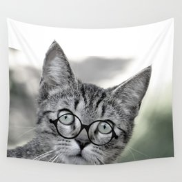 Old Lady Cat with Glasses Wall Tapestry