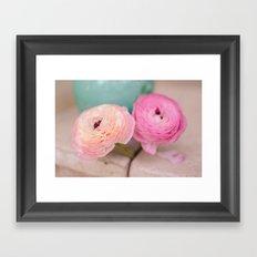 Pink Ranunculus Bouquet mint green Framed Art Print