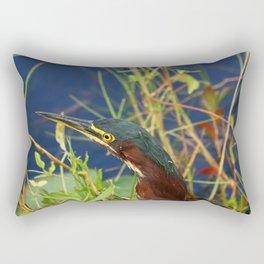 Green Heron Portrait Rectangular Pillow