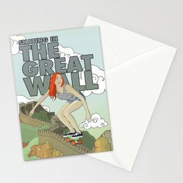 Skating in The Great Wall Stationery Cards